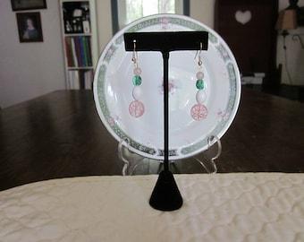 Vintage Repurposed Milk Glass, Pink & Green Bead Pierced Earrings