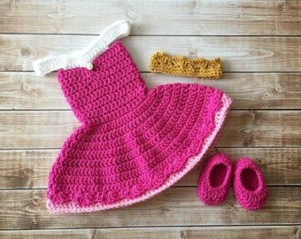 Princess Aurora Sleeping Beauty Inspired Costume/Crochet Princess Aurora Dress/Princess Photo Prop Newborn to 12 Months- MADE TO ORDER