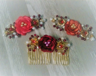 headband flower wine red russet/pin clip barrette hair comb/flower decorative flower surround choice / Bridal jewel flower head