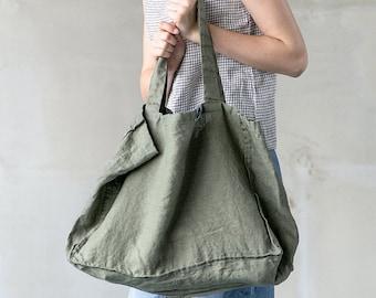 Large linen tote bag / linen beach bag / linen shopping bag in forest green