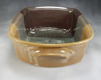 Pottery Casserole Dish Medium Green Yellow and Brown Ceramic Lasagna Pan or Rectangle Casserole Wheel Thrown Stoneware Pottery 2