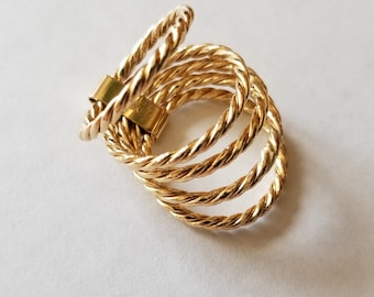 Unique 14k Gold Rope Stacked Rings