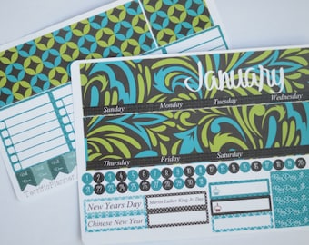 January Monthly Spread Kit Planner Stickers Removable Matte