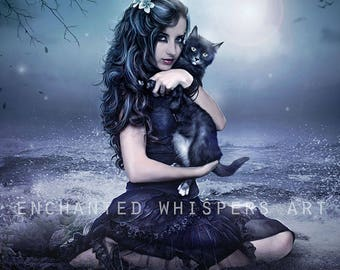 fantasy woman Witch and cat art print by Enchanted Whispers