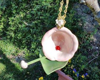 Hanging Tea Cup Bird feeder - pink