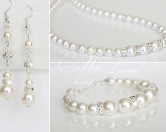 Bridal Jewelry Set, Wedding Pearl Jewelry Set, Bridal Jewelry Necklace, Long Pearl Earrings, Necklace set, Wedding Jewelry set, e36-b02-n02
