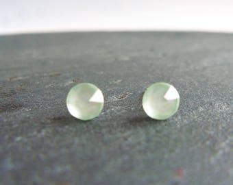 Green crystal stud earrings, Swarovski post earrings, Swarovski Elements, surgical steel earrings, 4.7mm powder green small crystal earrings