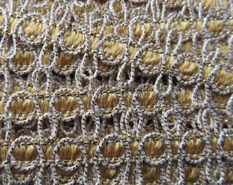 3 Yards Vintage Metallic Trim In Yellow White And Gold Old Store Stock  VT 13