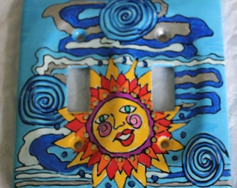 OOAK hand painted SUN CLOUDS double switch plate