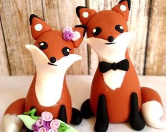 Fox Wedding Cake Topper Gold Cake Topper Bride and Groom Wedding Keepsake Wedding Decoration Fox Cake Topper Rustic Wedding Woodland Wedding