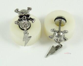 Stud earrings, lightning skull stud earrings, unique studs, earrings, unique gifts, statement earrings, lightning earrings, LarkKing ER397