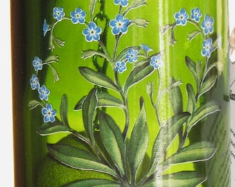 Green Wine Bottle Wind Chime with Pretty Bluebell Flowers decal fused into Glass