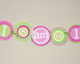 High Chair Banner. Mini Banner. I am 1. First Birthday. Cupcakes. Pink. Green. Polka Dots.
