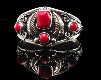 Taxco Mexico Sterling and Coral Bracelet