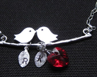 A Couple Birds in love personalized with initials and Swarovski Red Heart Crystal - - Silver Necklace