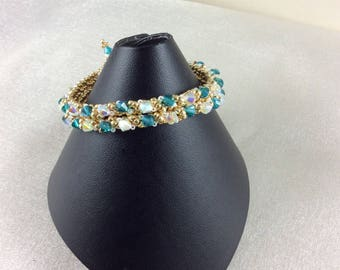 "The ""Violette"" Swarovski crystal bracelet in blue-green and clear crystal"
