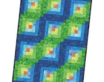 12 Block Log Cabin Quilt- Java Batik Brights
