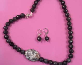 Grey Jade and Snowflake Obsidian Necklace and Earrings Set