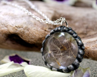 Dandelion Seeds Round Pendant on Silver Necklace, Make a Wish Necklace