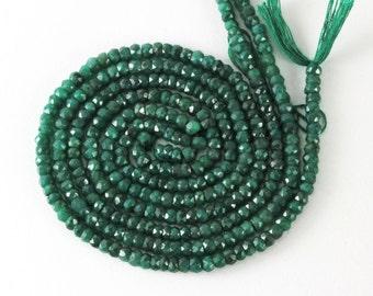 Emerald Rondelles 4.5mm to 5mm, Quarter, Half or Full Strand, Faceted Natural Emerald Rondelles, No Treatment,  Precious Gemstone Rondelles