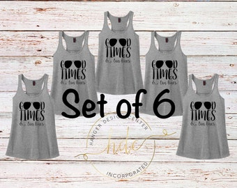 Bridesmaid Gifts/ SET OF 6 Good Times and Tan Lines Tank Tops/Bachelorette Party Shirts/Honeymoon Shirt/Beach Shirt/Racer Back Tank Top