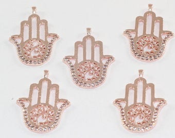 1 Pcs Spacer Beads, 29x20mm, Rose Gold Plated, Micro Pave Zirconia, Hamsa Hand, Bracelet Connectors, CZ Space Beads,  MMT100