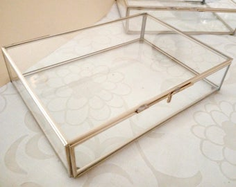 Made to order: 1 Glass Box Photo Holders or Terrariums or Wedding Decor Silver or Gold Finish various sizes