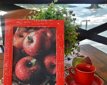 Red Apple kitchen decor 3D wall art Red Apple picture decoupage 3D rain drops Red Apple Frame no glass Home Decor interior picture gift her