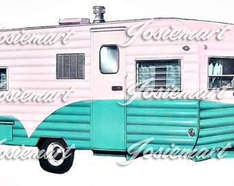 Vintage Digital Download Pink Aqua Trailer Vintage Image Collage Large JPG