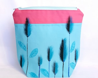 Hand Painted Large Makeup Bag, Cosmetic Bag, Zipper Pouch, Toiletry Bag, Triangle Shape Bag, Blue Wheat Field