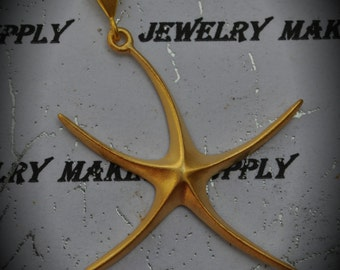 Genuine Solid 22kt Gold-Plated Over Sterling Silver Large Starfish Pendant