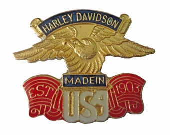 Harley Davidson motorcycle vintage enamel pin Made In USA eagle