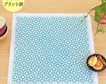 Olympus Cross Design Hana Fukin Sashiko Kit with Cloth and Threads - Traditional Japanese Craft