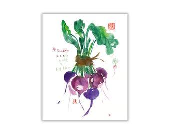 Purple radish print, Vegetable poster, Watercolor veggie illustration, Kitchen wall art, Vegetable painting, Food poster, Dining room poster