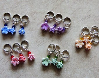 Spring stitch marker set of 6 red yellow green blue purple daisy star sunburst