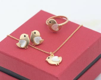 Cute Chick fashion jewelry set/ earring, ring(adjustable), necklace