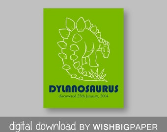 DINOSAUR Personalised Nursery Art.Digital Download.Boy Nursery Art.Dinosaur Bedroom Decor.Dinosaur Nursery Decor.Dinosaur Nursery Art