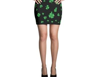 St. Patrick's Day Shamrock Clover Mini Skirt Women
