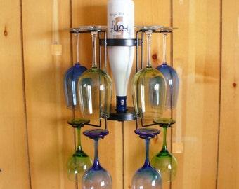 8-Glass Single Bottle Wall Mounted Wine Holder
