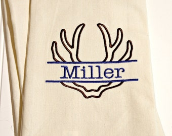 Personalized Kitchen Towel, Monogrammed Dish Towel, Cotton Dish Towel Embroidered With Antlers for Cabin or Cottage
