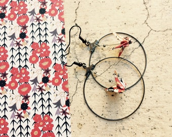 "Earrings Creole cranes origami ""Japan"""