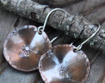 Stamped Copper Earrings Artisan Copper Earrings Metalsmith Earrings Small Earrings Rustic Copper Earrings
