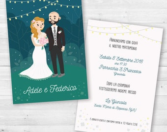 Wedding Invitations with personalized portrait-newlyweds illustrated-outdoor wedding with lights-Original wedding call