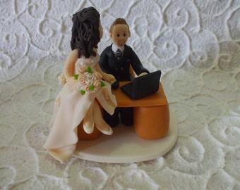 custom bride and groom themed job wedding cake topper