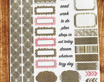 BURLAP AND GRACE Personal Weekly Sticker Kit, Planner Stickers, Sticker Kit Sized for Erin Condren Life Planner
