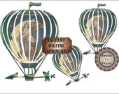 Celestial Airship Dirigible Printable Image Masking Art Relief Steampunk Art Nouveau Goddess Flying Balloon Large Clip Art Digital Set