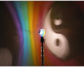 Yin Yang Rainbow Painted MoodLight Bulb /Ying Yang Decor/Night Light/Kids Lamp/Gay Marriage/Mood Lightin/Zen Balance Decor/Painted LightBulb