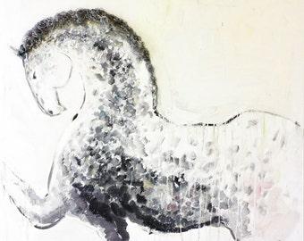 Original oil painting, horse art, abstract horse painting, large painting, modern artwork by Elisaveta Sivas, equine art, 39,4' x 47,2'