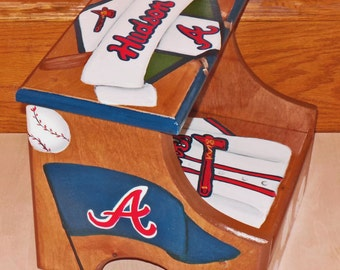 Custom designed baseball wooden step stool