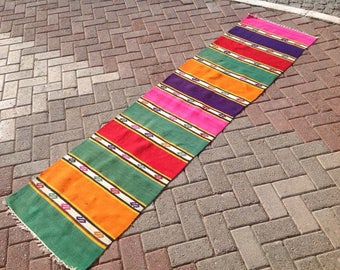 Colorful Kilim runner, Vintage Turkish kilim runner rug, runner rug, vintage colorful runner, bohemian runner rug, Turkish rug, orange, 098